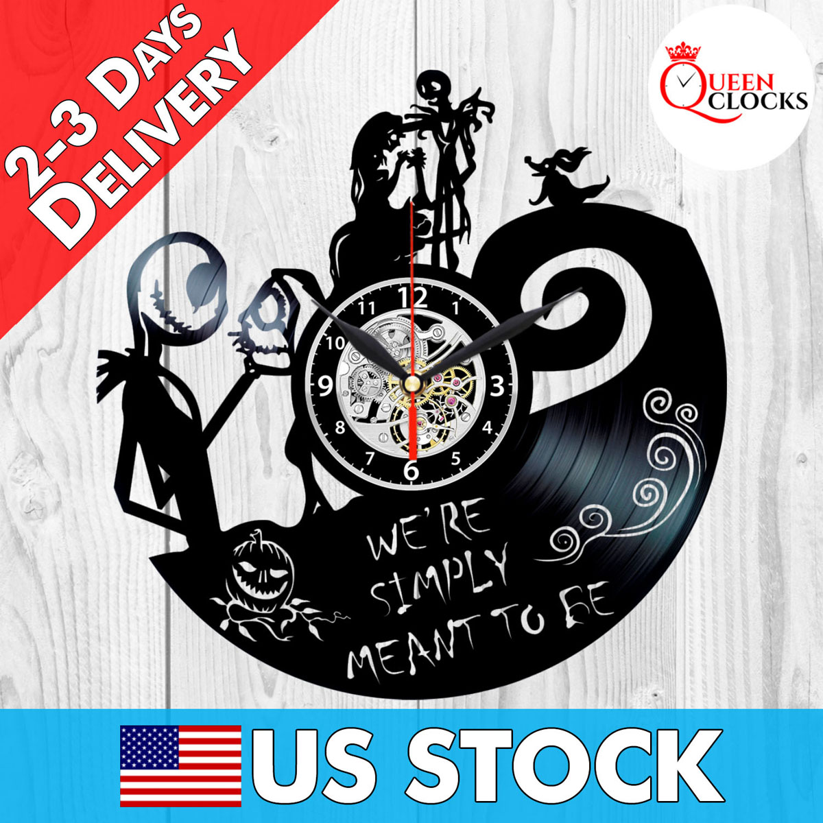 Jack Skellington Clock Sally Nightmare Before Christmas Vinyl Record ...