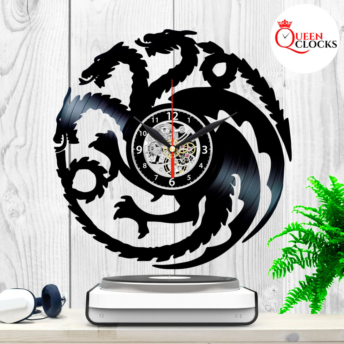 Game of Thrones House Logo Targaryen Stark Vinyl Record Wall Clock Decor Gift