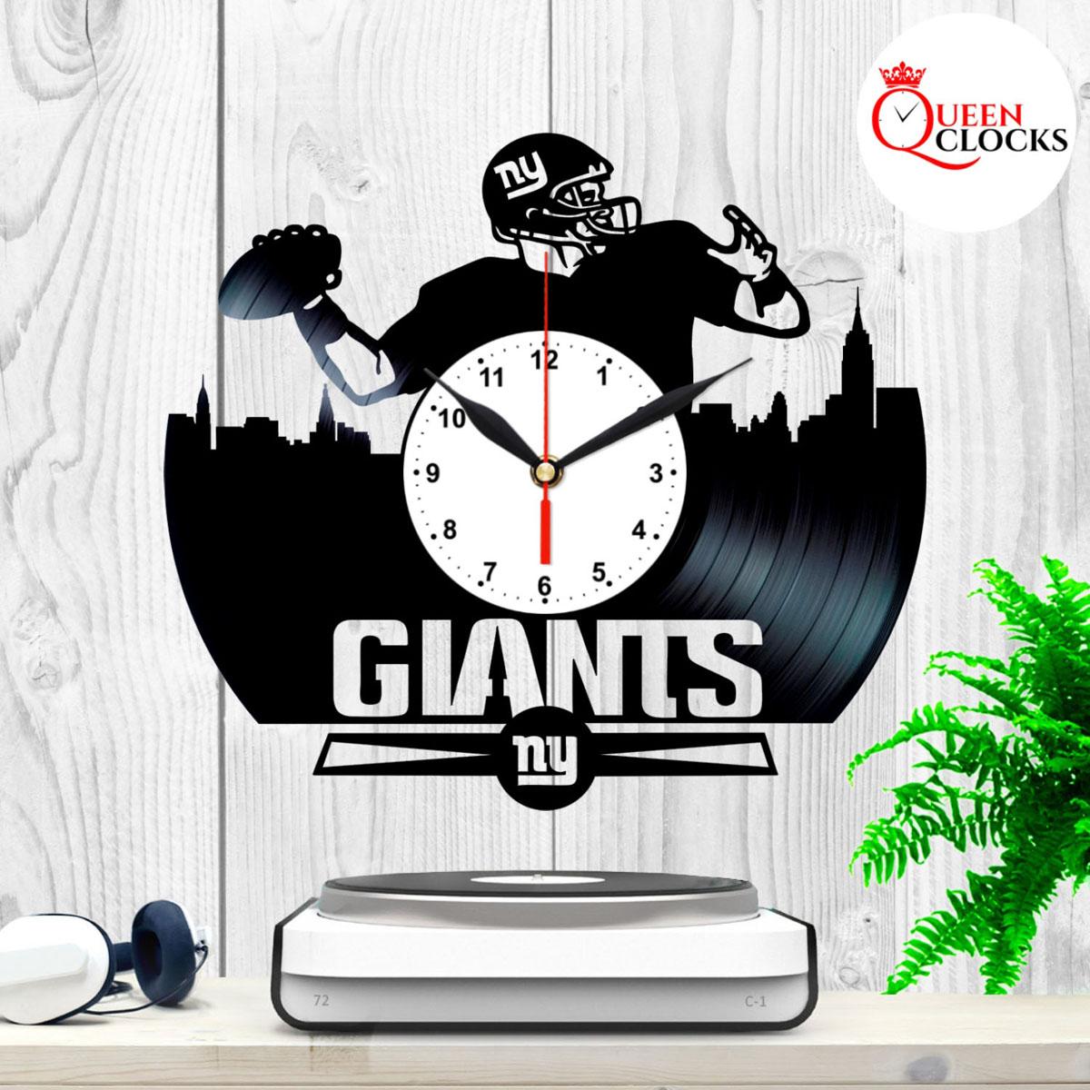 New York Giants Vinyl Design Record Wall Clock Decor Handmade Unique Design Original Gift