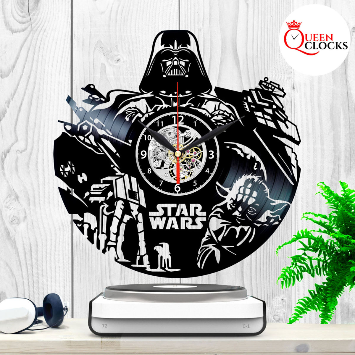 a2795f7eef3 Details about Star Wars Darth Vader Yoda Vinyl Record Wall Clock Home Room  Decor Best Dad Gift