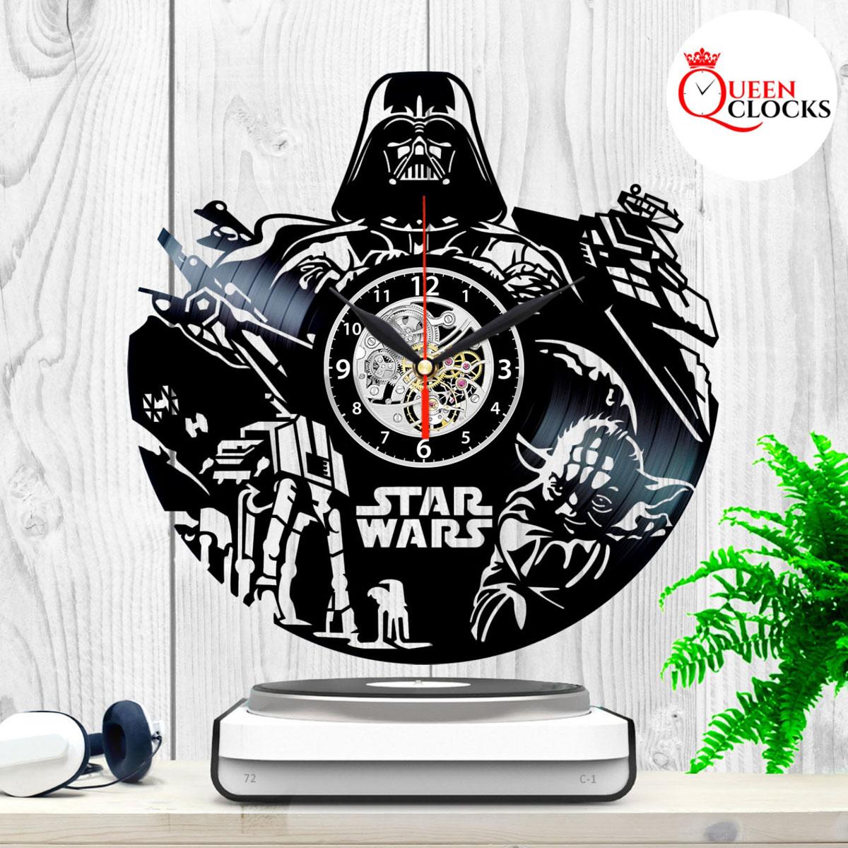 star wars darth vader yoda vinyl record wall clock home. Black Bedroom Furniture Sets. Home Design Ideas