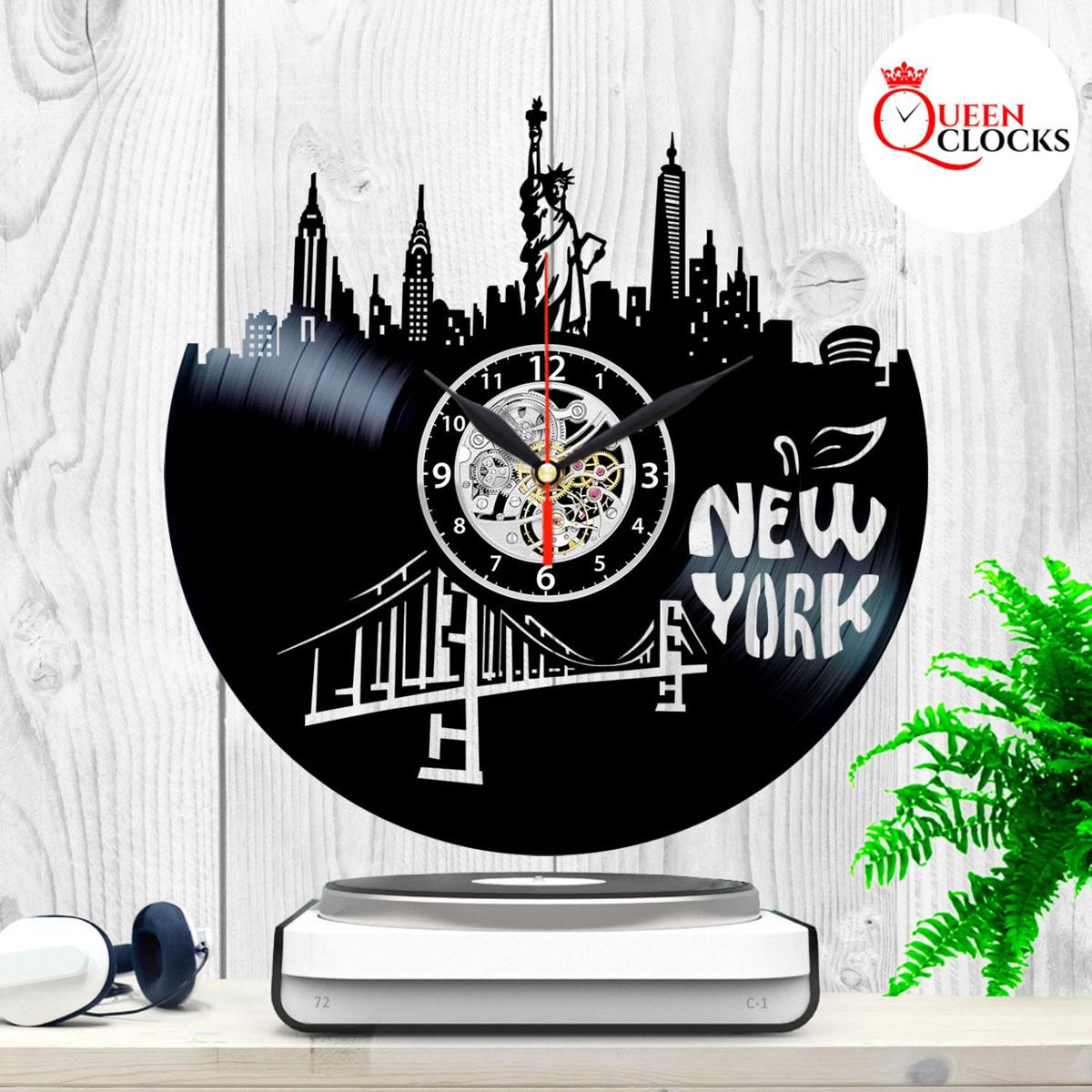 New York Skyline City Buildings Wall Clock Made Of Vinyl
