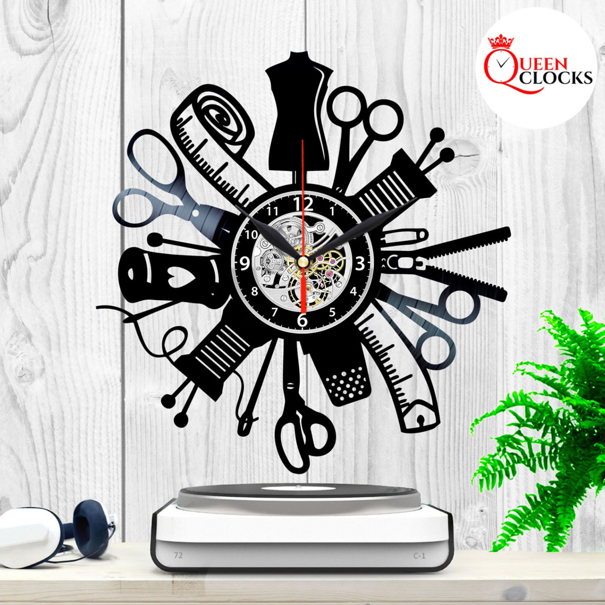 Sewing Instruments Hobby Sew Vinyl Record Wall Clock Gift For